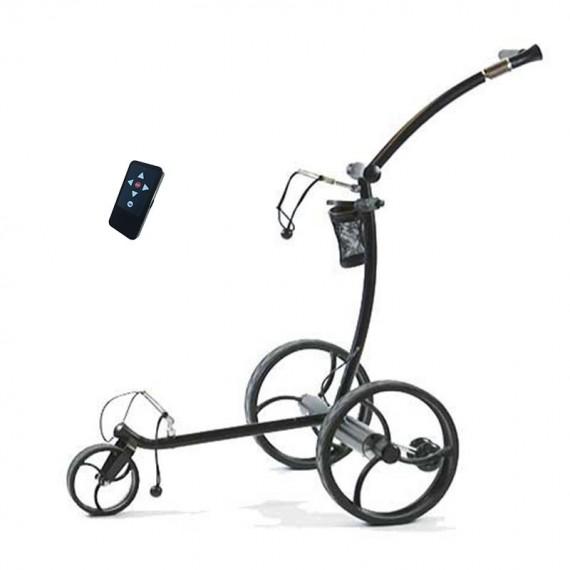 Chariot de golf télécommandé X7, finition acier/inox, roues noires - GolfSpeed